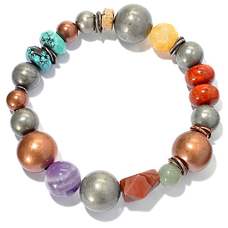 130-393 - Elements by Sarkash Two-tone Beaded Turquoise & Multi Gemstone Stretch Bracelet