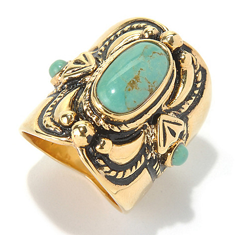 130-395 - Elements by Sarkash 13 x 7mm Turquoise North-South Ring
