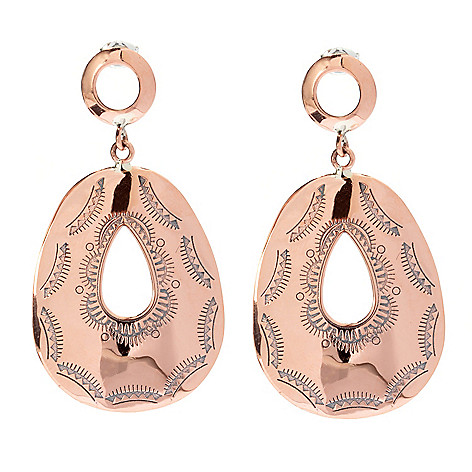 130-397 - Elements by Sarkash Pear Shaped Geometric Engraved Drop Earrings
