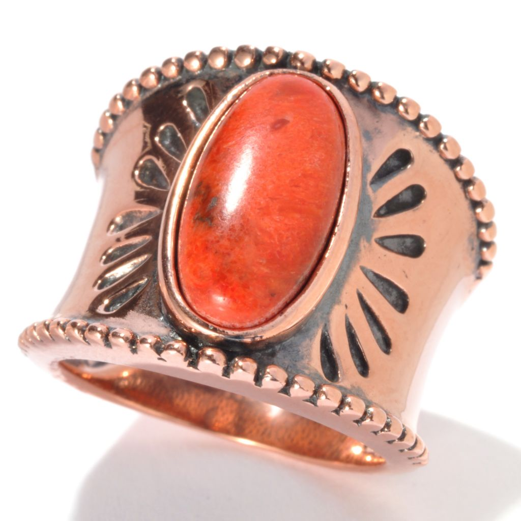 130-398 - Elements by Sarkash Oxidized Copper 14 x 7mm Orange Sponge Coral Wide Band Ring