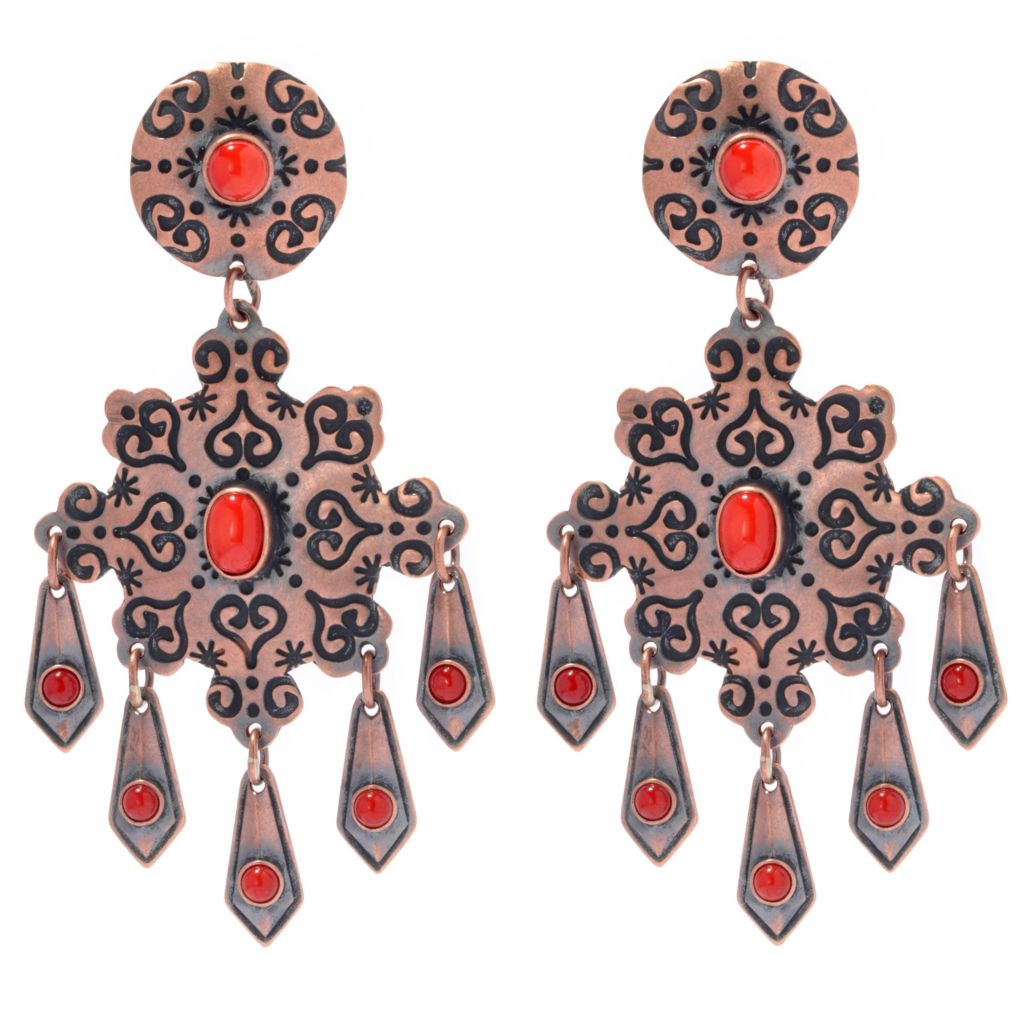 "130-399 - Elements by Sarkash Oxidized Copper 2.75"" Red Coral Geometric Drop Earrings"