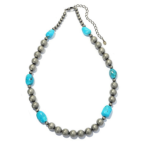 130-401 - Elements by Sarkash 18'' Silver-tone Turquoise Nugget Bead Necklace