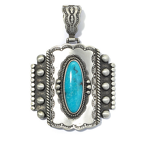 130-402 - Elements by Sarkash Silver-tone 30 x 10mm Oval Turquoise Enhancer