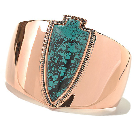 130-403 - Elements by Sarkash 6.5'' Copper Turquoise Arrowhead Cuff Bracelet