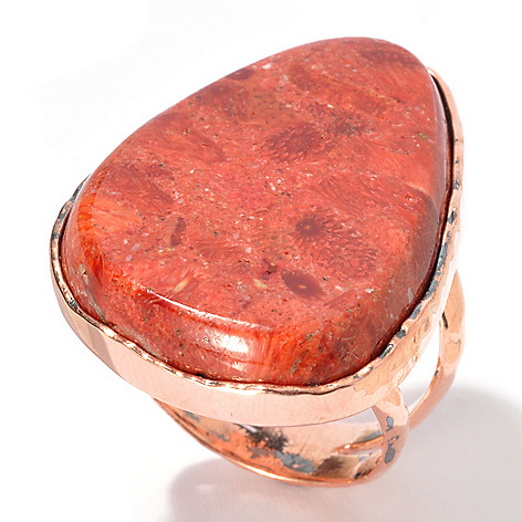 130-404 - Elements by Sarkash Copper 31 x 20mm Sponge Coral Split Shank Ring