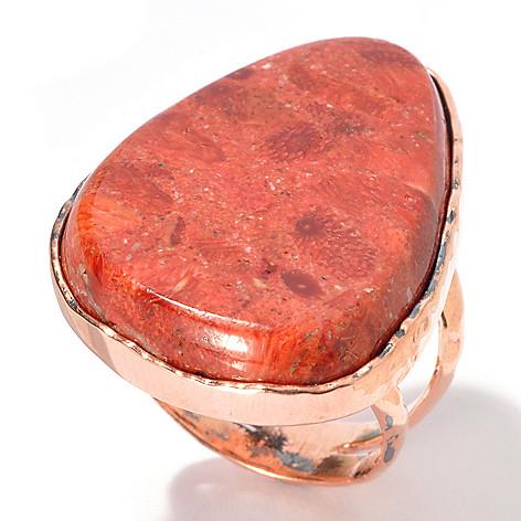 130-404 - Elements by Sarkash Copper 31 x 20mm Sponge Coral Split Shank Ring