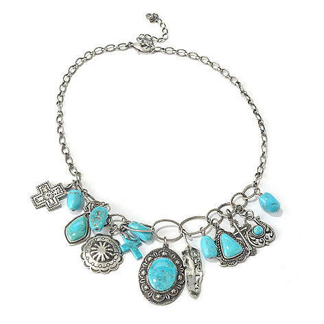 130-406 - Elements by Sarkash Silver-tone 17'' Nacozari Turquoise Charm Necklace