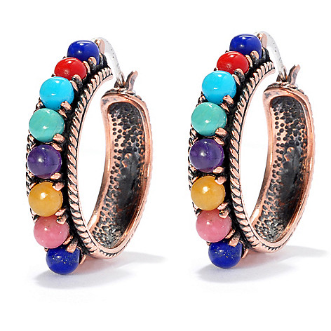 130-407 - Elements by Sarkash Sterling Silver & Copper 1.25'' Multi Gemstone Hoop Earrings