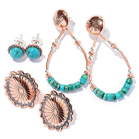 130-408 - Elements by Sarkash Set of Three Sterling Silver & Oxidized Copper Turquoise Earrings