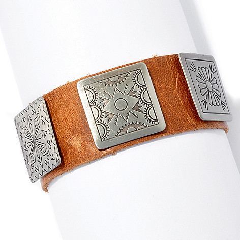 130-409 - Elements by Sarkash 8'' Silver-tone & Genuine Leather Bracelet