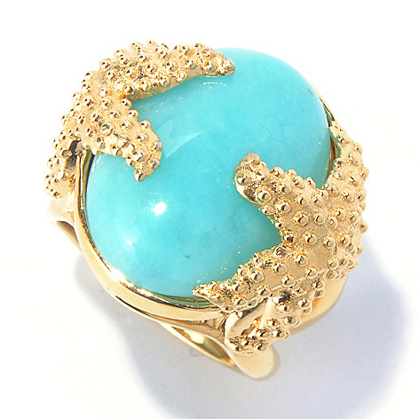 130-411 - Colette 20 x 15mm Amazonite Starfish Ring