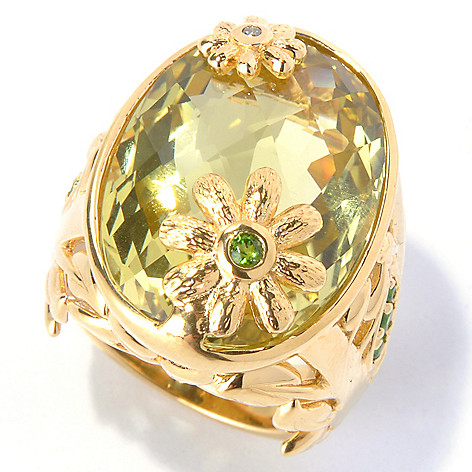 130-416 - Colette 22.47ctw Ouro Verde, Chrome Diopside & Diamond Ring