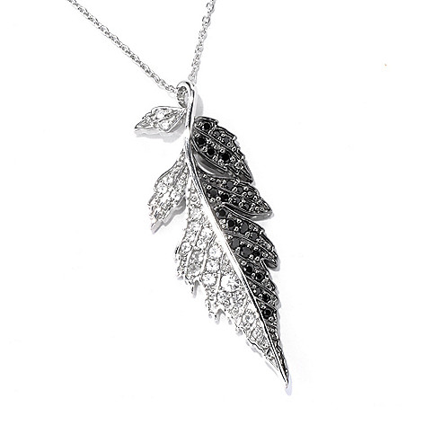 130-419 - Colette 1.73ctw White Zircon & Black Spinel Leaf Pendant w/ Chain