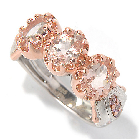 130-422 - Colette 1.90ctw Morganite & Pink Sapphire Three-Stone Ring