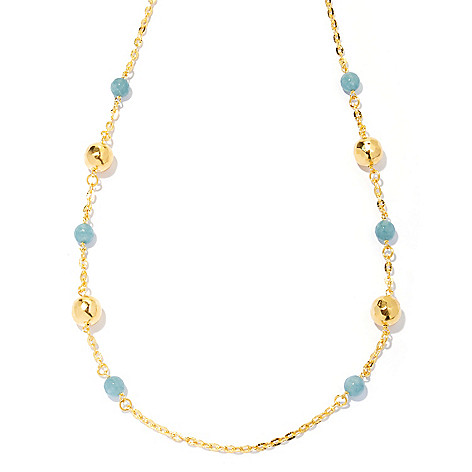 130-423 - Toscana Italiana 18K Gold Embraced™ 28'' Aqua Quartz & Hammered Bead Station Necklace