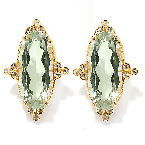 130-428 - Dallas Prince 8.58ctw Gemstone & Zircon Elongated Oval North-South Earrings