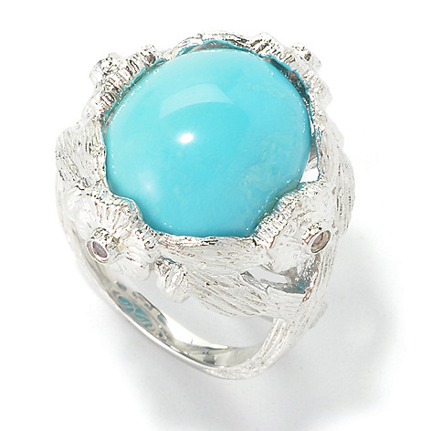 130-430 - Dallas Prince Sterling Silver 15 x 13mm Oval Turquoise & Pink Sapphire Ring