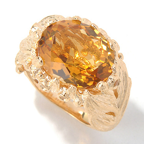 130-431 - Dallas Prince 5.68ctw Citrine & Yellow Sapphire Oval East-West Leaf Ring