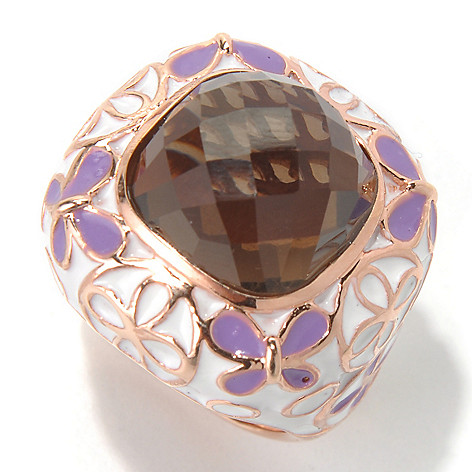 130-432 - Dallas Prince Designs 7.88ctw Cushion Shaped Smoky Quartz & Enamel Floral Ring