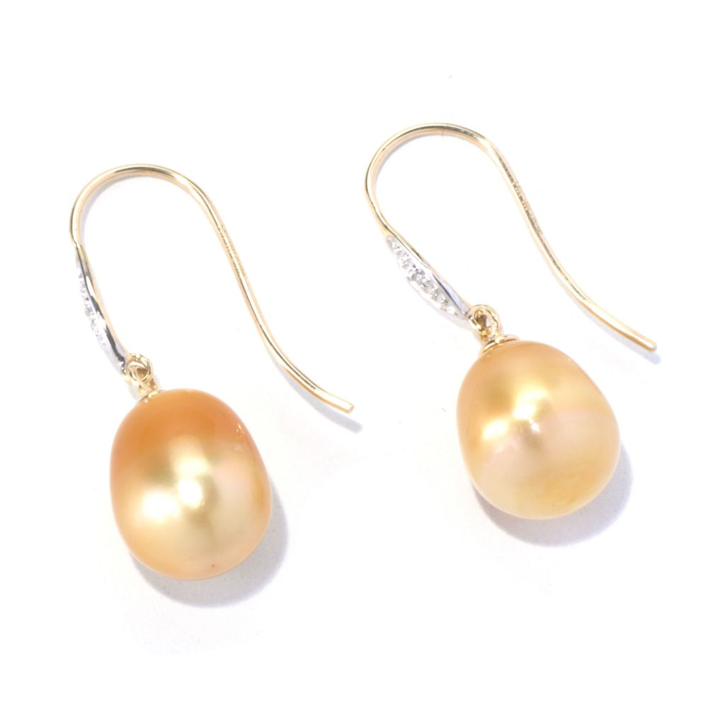 "130-439 - 14K Gold 9-10mm Golden South Sea Cultured Pearl & Diamond 1"" Drop Earrings"