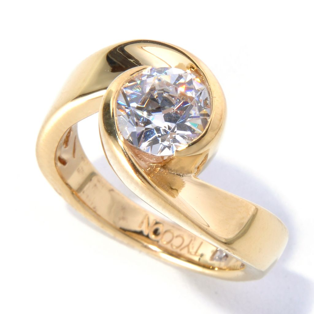 130-456 - TYCOON 1.30 DEW Simulated Diamond Polished Swirl Solitaire Ring