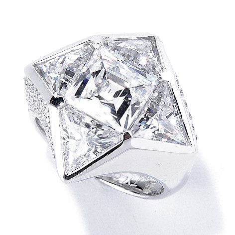 130-459 - TYCOON Platinum Embraced™ 7.99 DEW Square & Triangle Simulated Diamond Star Ring
