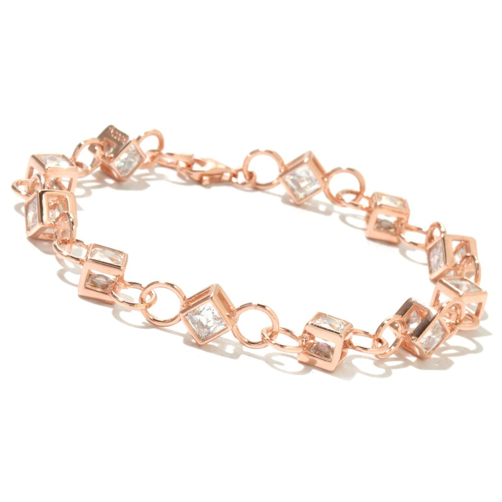 130-468 - TYCOON Square TYCOON CUT Simulated Diamond Kissing Stones Cube Link Bracelet