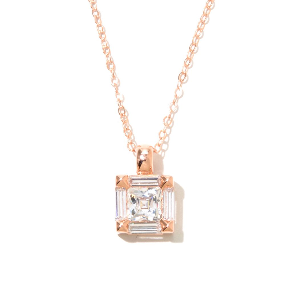 130-470 - TYCOON 2.02 DEW Square & Baguette Simulated Diamond Pendant w/ Chain