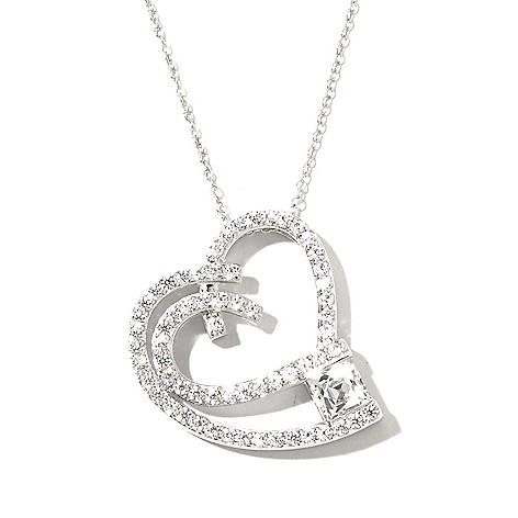 130-471 - TYCOON Platinum Embraced™ 1.69 DEW Simulated Diamond Heart Pendant w/ Chain