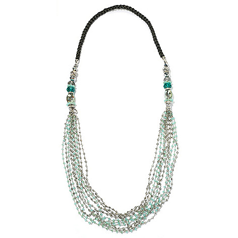 130-476 - RUSH 40'' Braided Rope & Crystal Multi Strand Necklace