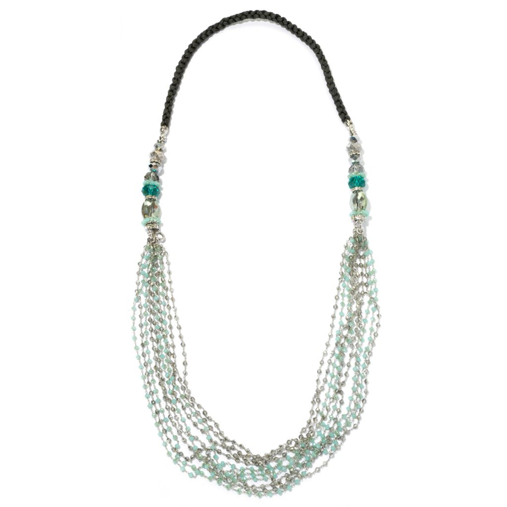 "130-476 - RUSH 40"" Braided Rope & Crystal Multi Strand Necklace"