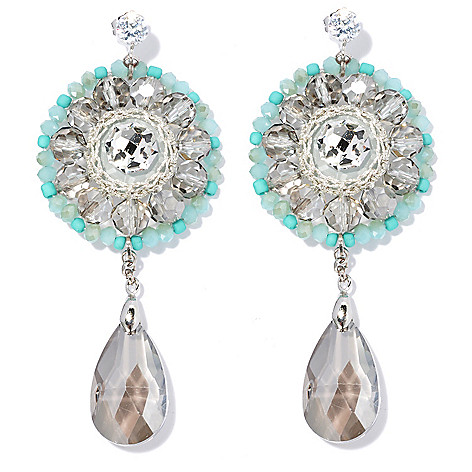 130-478 - RUSH 3.75'' Smoky Crystal & Glass Beaded Round Drop Earrings