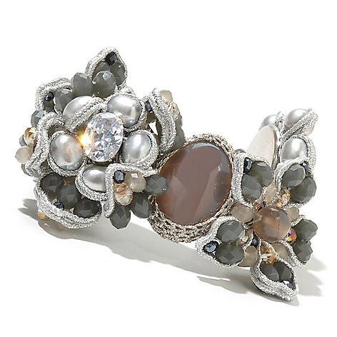130-480 - RUSH 8'' Freshwater Cultured Pearl & Crystal Flower Toggle Bracelet