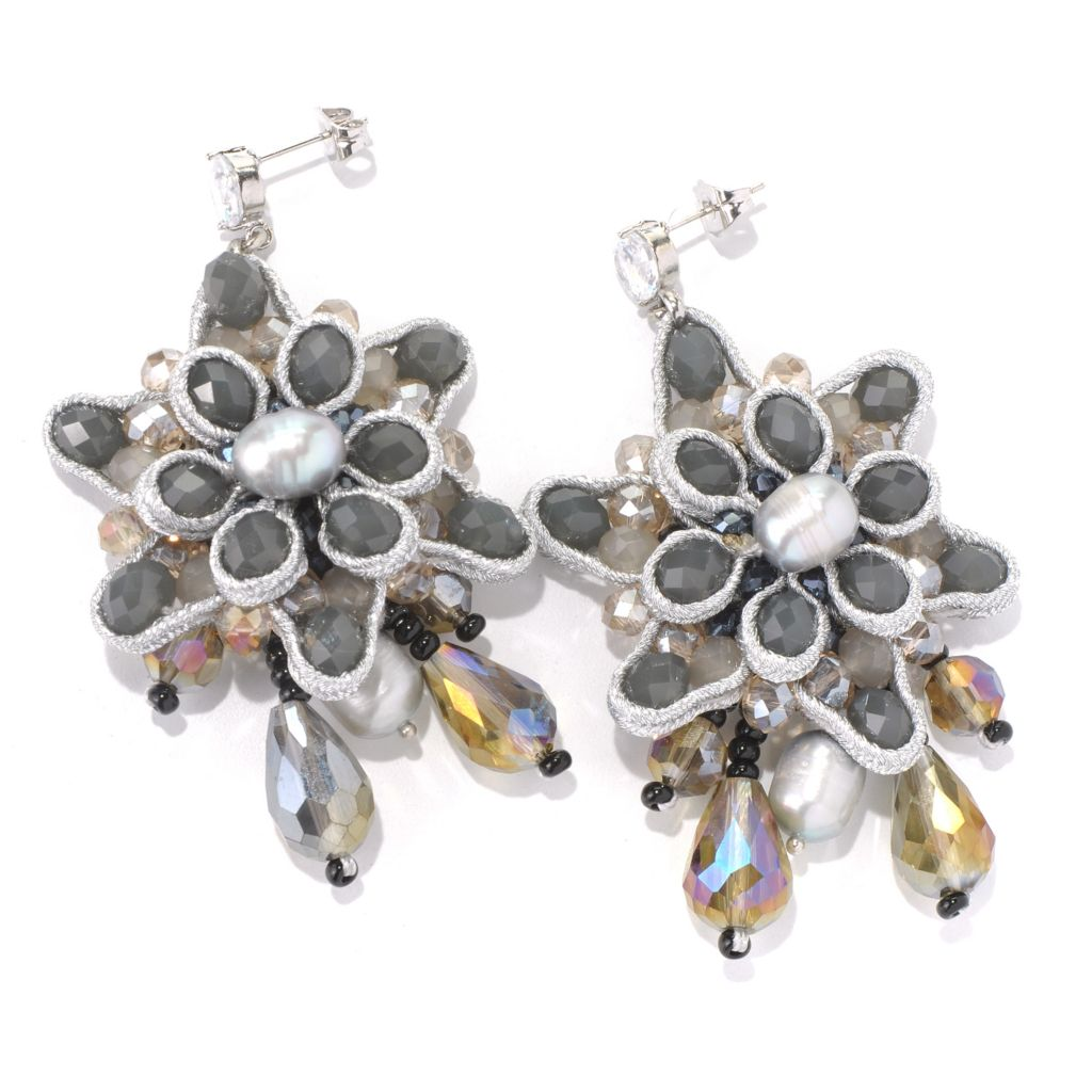 "130-481 - RUSH 3"" Grey Freshwater Cultured Pearl & Crystal Beaded Flower Earrings"