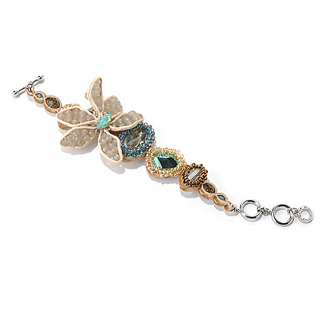130-483 - RUSH 8'' Tan, Green & Blue Beaded Flower Toggle Bracelet w/ Extender