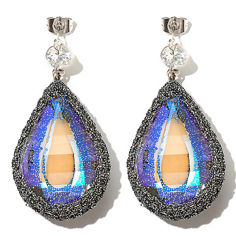 130-487 - RUSH 2'' Crocheted Crystal Teardrop Earrings