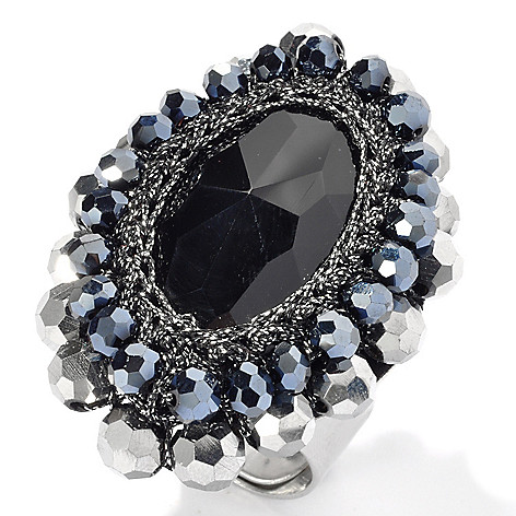130-488 - RUSH Black Marquise & Gunmetal Beaded Ring