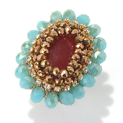 130-489 - RUSH Bronze, Aqua & Red Beaded Oval Cocktail Ring