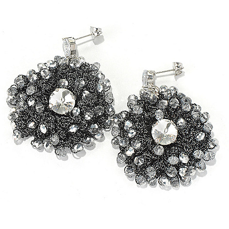 130-491 - RUSH 2'' Crocheted & Beaded Round Drop Earrings
