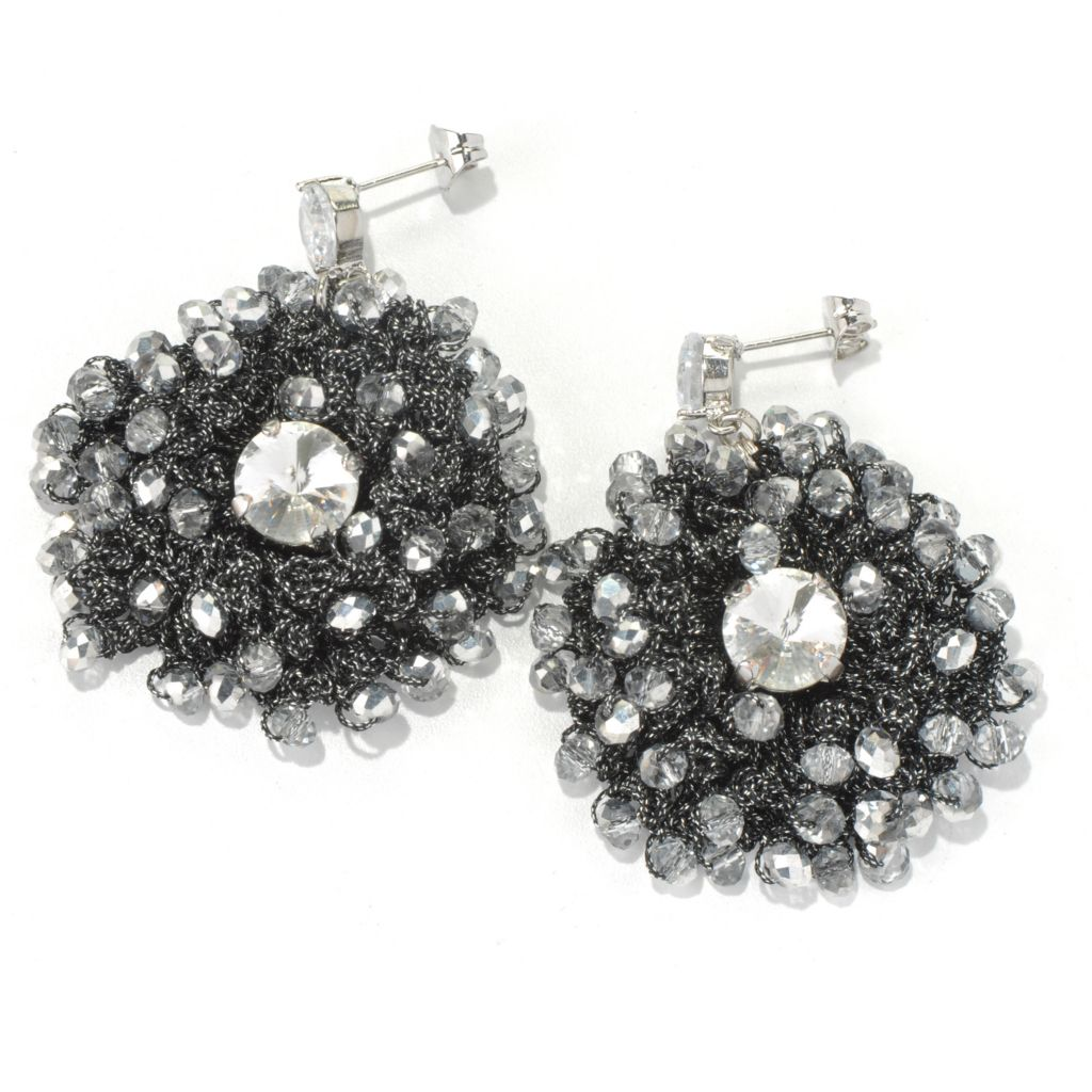 "130-491 - RUSH 2"" Crocheted & Beaded Round Drop Earrings"