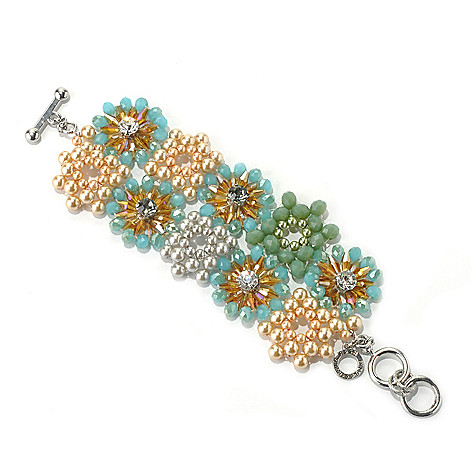 130-494 - RUSH 7'' Multi Crystal Beaded Floral Wide Toggle Bracelet w/ Extender