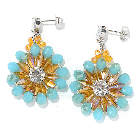 130-495 - RUSH 2'' Multi Crystal Beaded Floral Drop Earrings