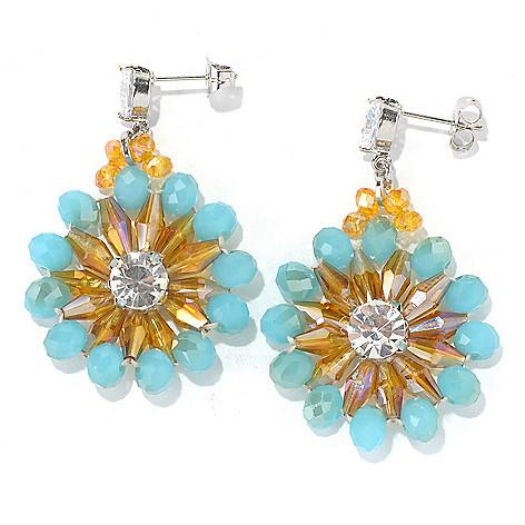 130-495 - RUSH 2'' Multi Crystal Beaded Floral Drop Earrings
