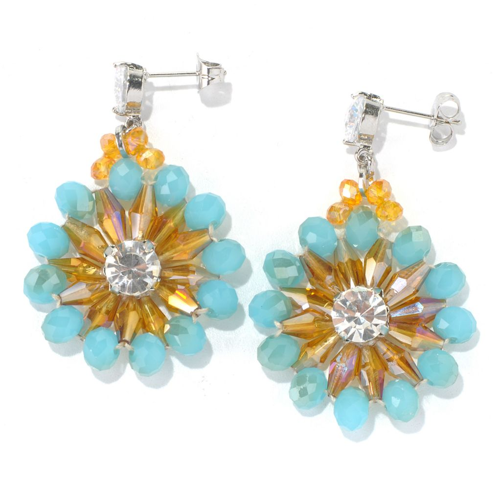 "130-495 - RUSH 2"" Multi Crystal Beaded Floral Drop Earrings"