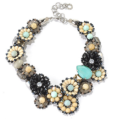 130-496 - RUSH 17'' Beaded Floral Design Statement Necklace