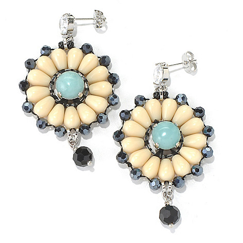130-497 - RUSH 2.5'' Beaded Floral Design Drop Earrings