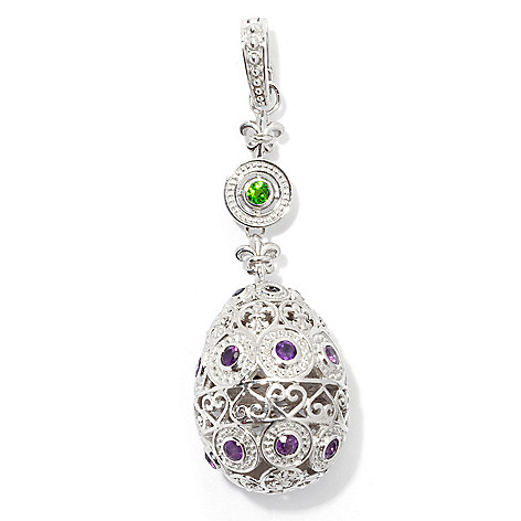130-502 - Dallas Prince Designs Sterling Silver 2.5'' Multi Gem Fleur-de-lis Egg Enhancer Pendant