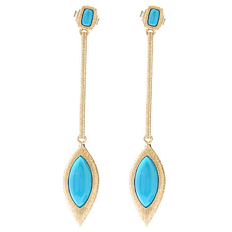 130-504 - Michelle Albala Sleeping Beauty Turquoise Elongated 2.5'' Drop Earrings