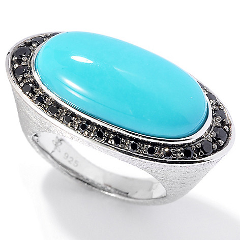 130-506 - Michelle Albala Sleeping Beauty Turquoise & Black Spinel Elongated Ring