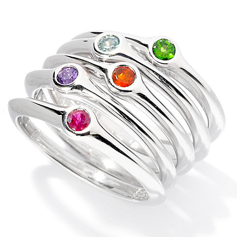 130-510 - Michelle Albala Set of Five Multi Gemstone Stackable Band Rings